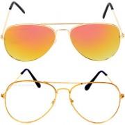 Aligatorr Combo Of 2 Aviator Unisex Sunglasses gylgold wtCRLK