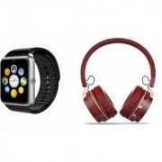 Zemini GT08 Smart Watch and SH 10 Bluetooth Headphone for LG OPTIMUS L5(GT08 Smart Watch with 4G sim card camera memory card |SH 10 Bluetooth Headphone )