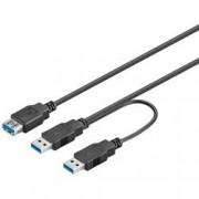 Goobay Cavo USB 3.0 SuperSpeed ad Y 2x A M / 1x A F 0,3 m Nero