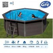 Gre WPC kompozit 410x124cm kerek medence szett homokszűrővel és tartozékokkal