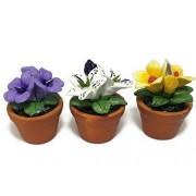 3pc Miniature Flower Clay Dollhouse Fairy Garden Mini Plant Trees Ceramic Paint Furniture Bundles Artificial Flowers #070