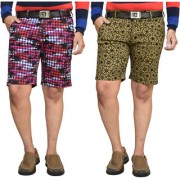 American Noti Checkerd Stretchable Cotton Lycra Slim Fit Men's Shorts(Bermuda)/3/4 th Pack of 2