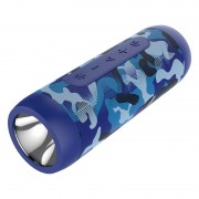 ZEALOT S22 Bluetooth Speaker FM Radio Portable Boombox Wireless Speaker with Flashlight and Power Bank - Camouflage Blue