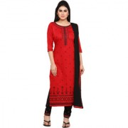 Kvsfab Red and Black Cotton embroidered un-stitched dress material KVSSK1040SDRS2