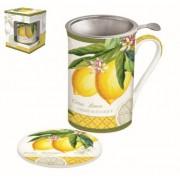 R2S.280JBOL Porcelán bögre 300ml,tetővel fém szűrővel,Jardin Botanique Lemon
