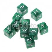Alcoa Prime SET OF 10 GREEN ACRYLIC D6 6 SIDED DICE DUNGEONS & DRAGONS D&D RPG Poly Game
