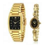 HWT Rectangle Black Dail Golden Metal Couple Watches Combo