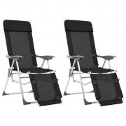 vidaXL Сгъваеми къмпинг столове с подложки, 2 бр, черни, алуминиеви