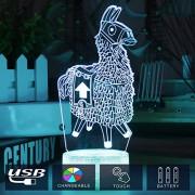 Fancy Luz Nocturna 3D, lámpara LED Colorida con Luces táctiles, Panel de proyección de acrílico Alimentado por USB, Adecuado para decoración de habitación de niños, Alpaca, 1