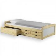 IDIMEX Lit fonctionnel en pin ANDREA, 90 x 200 cm, vernis naturel et lasuré blanc