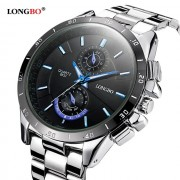 LONGBO Quartz Men Watches Top Brand Luxury Men Military Wrist Watches Full Steel Men Sports Watch Waterproof Relogio Masculino