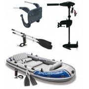 Intex szett , gumicsónak Excursion 5 + Elektromos csónakmotor 40lbs + motortartó