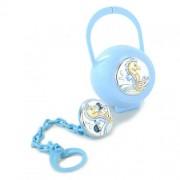 confezione regalo scatolina e pinza porta ciuccio da bambino argento ippocampo