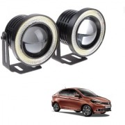Auto Addict 3.5 High Power Led Projector Fog Light Cob with White Angel Eye Ring 15W Set of 2For Tata Tigor