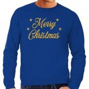 Bellatio Decorations Kersttrui Merry Christmas gouden glitter letters blauw heren