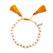 CO88 Armband met kwast Agaat wit/oranje schuifsluiting, one-size 8CB-80033