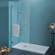 Parete doccia Nadia da 140 cm in cristallo 8 mm con braccio di fissaggio Cerniere Sabbiato Londra