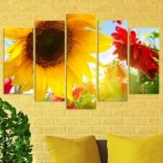 Декоративен панел за стена с флорален дизайн в жълто и червено Vivid Home