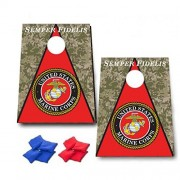 Marine Corps Semper Fidelis Cornhole Game - Millitary Bag Toss Game - 8 Bags Included - Wooden Boards - Made in The USA