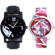Black Dial Goal Achived Art And Multi Pink Art Couple Analogue Watch By Ganesha Exim