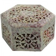 Hand Carved Hexagon Shaped Box Soapstone Carving Lattice Design Decorative Table Top Accessory (4.5X4.5X3) inches