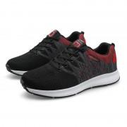 Mode vliegende weven outdoor sport casual schoenen voor mannen (kleur: zwart rood maat: 39)