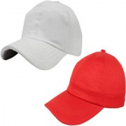 Sunshopping men's solid white and red pure cotton baseball cap (pack of two)