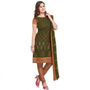 Drapes Green Block Print Cotton Salwar Suit Material (Unstitched)