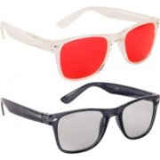 NuVew Wayfarer Sunglasses(Grey, Red)