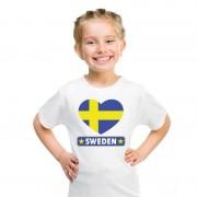 Bellatio Decorations Zweedse vlag in hartje shirt wit kind