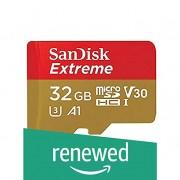 SanDisk Extreme 32GB microSDHC UHS-3 Card - SDSQXAF-032G-GN6MA (Renewed)