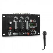 Resident DJ DJ-21 BT Mesa de mezclas DJ Set de mezclas Bluetooth USB micrófono Negro (PL_DJ21BT_plus_MIC)