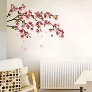 Walltola PVC Multicolor Floral Wall Stickers Sakura Cherry Blossom (90 X 80 Cmc) (No of Pieces 1)