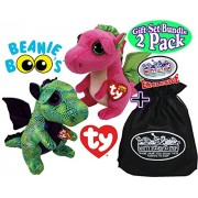 "TY Beanie Boos ""Dragons"" Cinder (Green Dragon) & Darla (Pink Dragon) Gift Set Bundle with Bonus ""Matty's Toy Stop"" Storage Bag - 2 Pack"