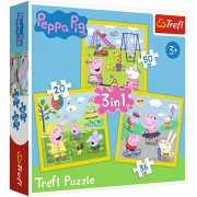 Puzzle 3 in 1 Purcelusa Peppa 106 piese