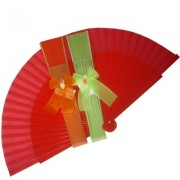 Decorated Wedding Fans - Assorted Bright Colours (Plain Bows)