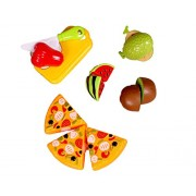 Hobnot Realistic Sliceable Pizza and Fruit Cutting Play Toy Set, Can Be Cut in 2 Parts, 4 Fruits, 3 Pizza Slices