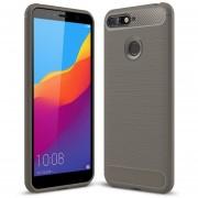 Cepillado Textura Fibra De Carbono Resistente TPU Para Huawei Honor 7a / Y6 (2018) (gris)