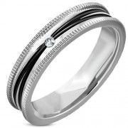 Ezüst és fekete színű nemesacél gyűrű cirkónia kristállyal-7