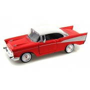 1957 Chevrolet Belair, Red - Motormax 73228 - 1/24 Scale Diecast Model Toy Car