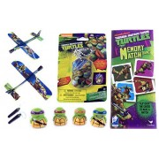 Ninja Turtles Gift Set for Boys - TMNT Gift Set - with TMNT Dog Tag Necklace, Ninja Turtle Plane Gliders, Finger Puppets & Memory Game by Bundle