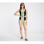 Lazy Oaf Moody Check Swimsuit Black/ Green