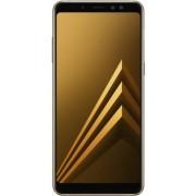 """Telefon mobil Samsung Galaxy A8 (2018), Procesor Octa-Core 1.6GHz/2.2GHz, Super AMOLED 5.6"""", 4GB RAM, 64GB Flash, 16MP, Wi-Fi, 4G, Dual Sim, Android (Auriu) + Cartela SIM Orange PrePay, 6 euro credit, 6 GB internet 4G, 2,000 minute nationale si internatio"""
