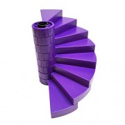 Lego Parts: Rapunzel's Creativity Tower Staircase Bundle - (1) Black - Support Axle 1 x 1 x 5 1/3 and (8) Dark Purple - Spiral Steps
