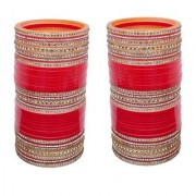 Lucky Jewellery Red Bridal Golden White Stone Chura Designer Fashion Choora Punjabi Wedding Chuda Set