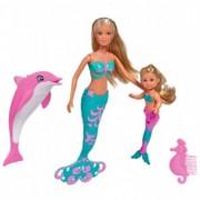 Set Papusa 29 cm, papusa 12 cm, delfin si accesorii