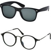 Stysol Wayfarer Sunglasses(Black, Clear)
