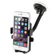 Shop4 - Universele Telefoonhouder Auto Raamhouder met automatisch klemmechanisme Zwart