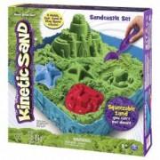 Set Nisip kinetic modelabil Kintetic Sand Spin Master cu forme si cutie Verde + Joc de Carti Domino Cadou