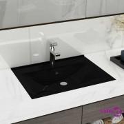 vidaXL Luksuzni Keramički Pravokutni Umivaonik s Otvorom za Slavinu Crni 60 x 46 cm